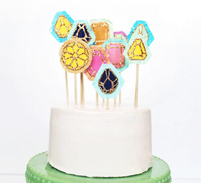 DIY Gem Cake Toppers via Design Love Fest