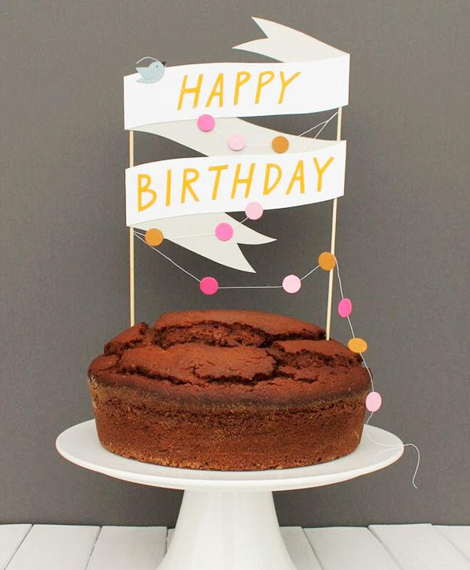 Super Cute Paper Banner Cake Topper
