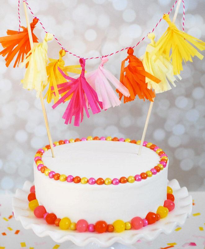 Mini Tissue Tassels Cake Topper