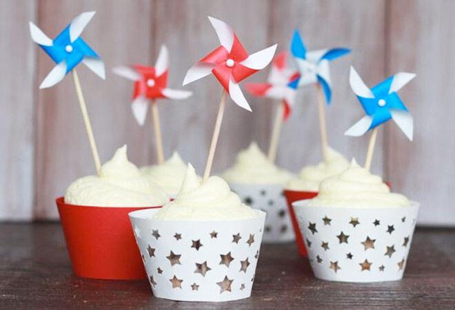 DIY Pinwheel Cupcake Toppers via Alyssa and Carla