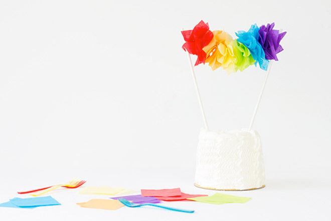 DIY Rainbow Garland Cake Topper