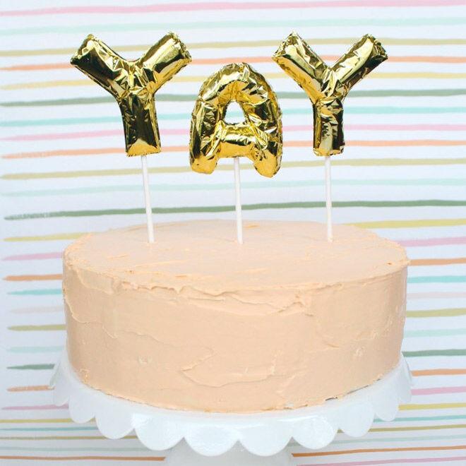 Yay Balloons Cake Toppers via A Joyful Riot