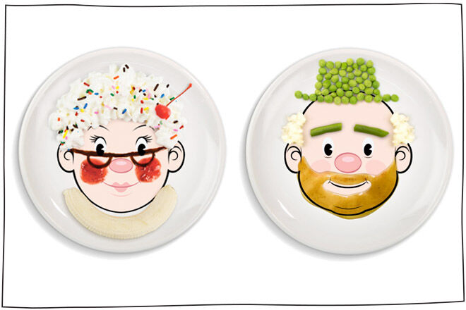 Funny dinner sets from Food Face to encourage the kids to eat their veggies!