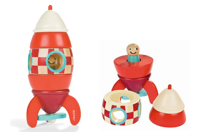 Fun magnetic stacking rocket toy from Janod