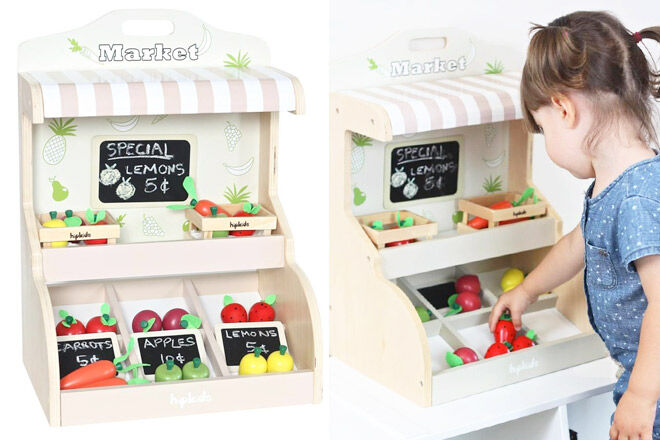 Play market stand with fruits and veggies