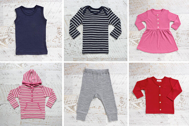 787775486 Snuggle up in merino wool baby clothes.