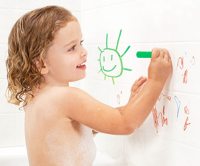 Write on, wipe off! Turn bath time into fun time with Bath Crayons.