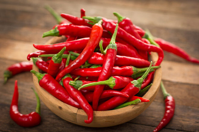 Eating hot chillies