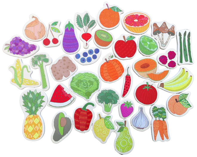 Mud Puppy Veggie Magnets
