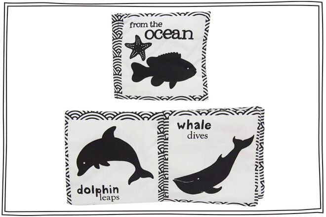 Soft book for babies featuring black and white images of animals from the Australian Oceans