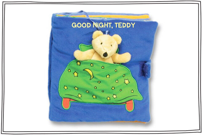 Adorable cloth book for babies and toddlers taking teddy from dinner time to bath time and bed.