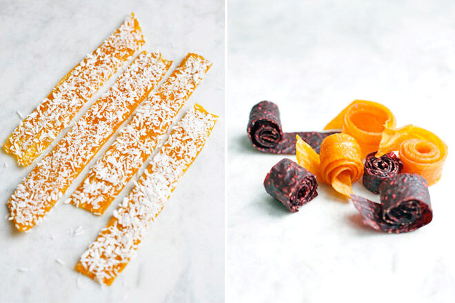 Refined sugar-free fruit roll up recipe via Green Kitchen Stories. Great for kids parties and the school lunchbox.