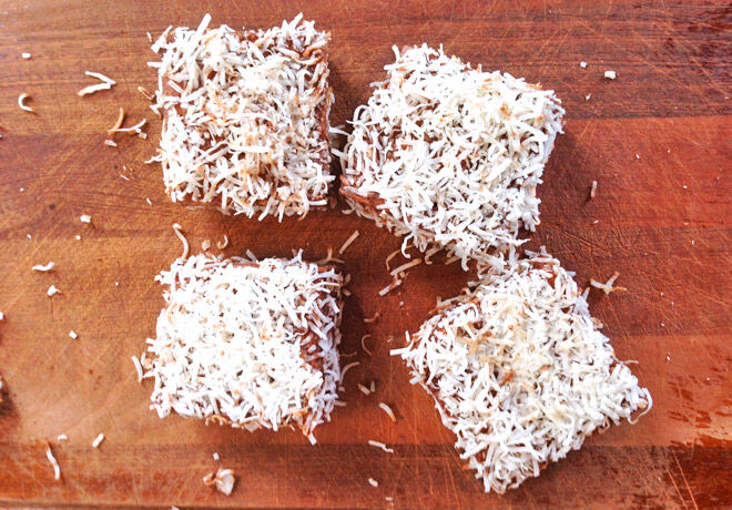 Sugar-free Lamington Recipe - great for kids parties and afternoon tea