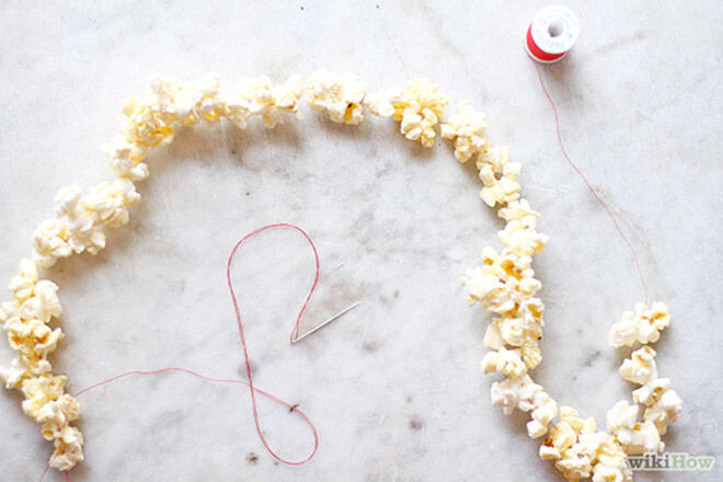 Popcorn on a string. A simple party food the kids will love!