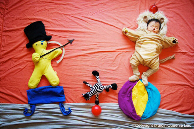 Creative mum puts baby in circus when he sleeps