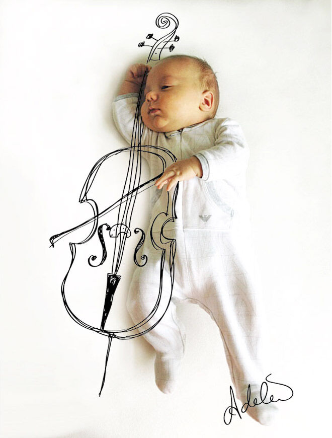 Adele Enerson's pen drawings over photographs of her baby