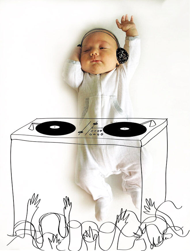 Adorable pen drawings over photographs of baby by Adele Enerson
