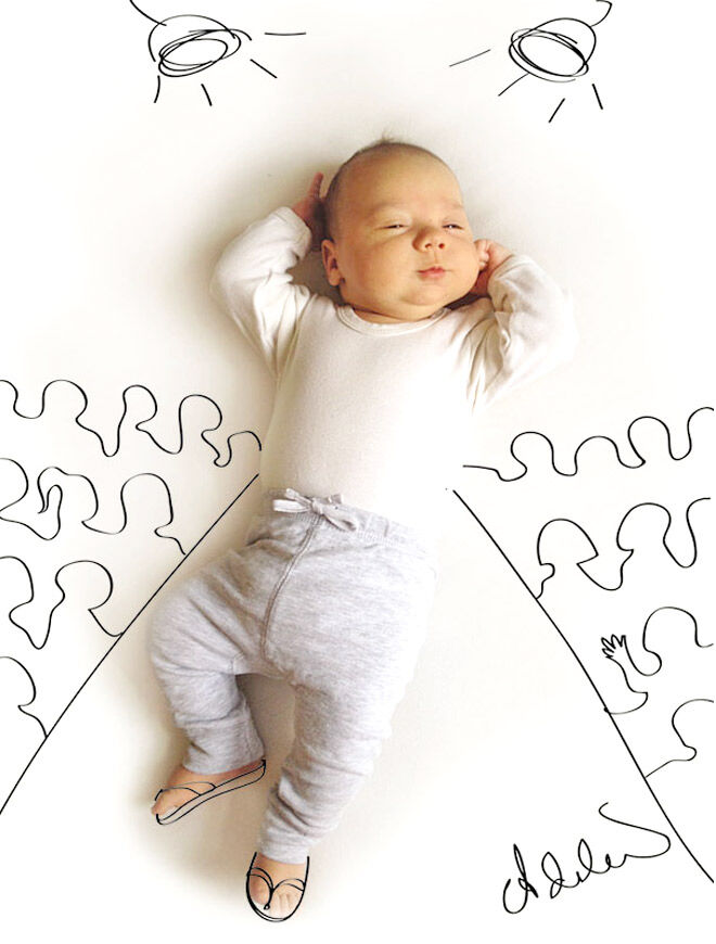 Pen drawings over photographs of baby Vincent by Adele Enerson