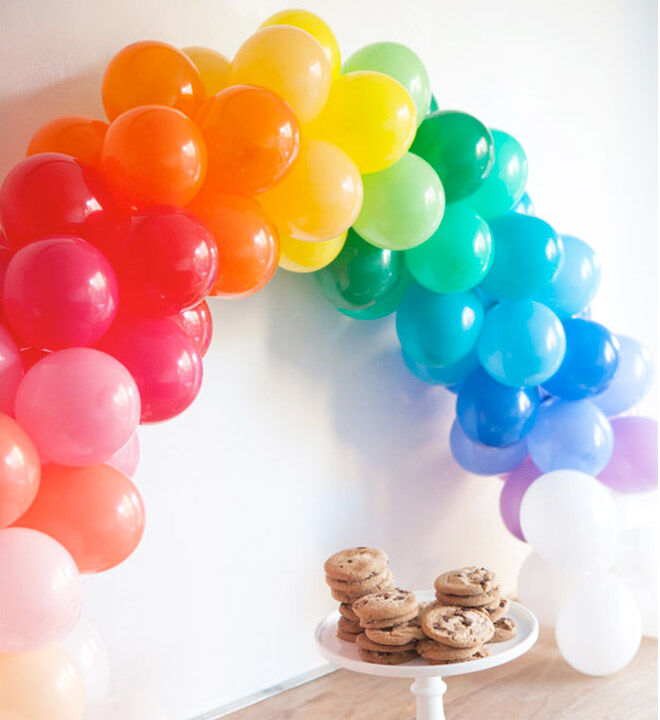 DIY Balloon Arch. Cute mini balloons in different colours look great on this dessert table | Mum's Grapevine