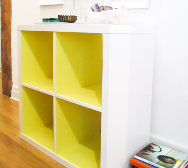IKEA hack - Paint the white KALLAX neon yellow | Mum's Grapevine