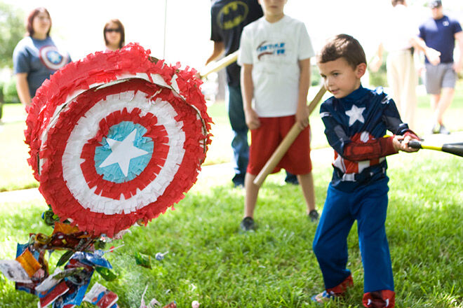 DIY Captain America Pinata via Bead and Cord