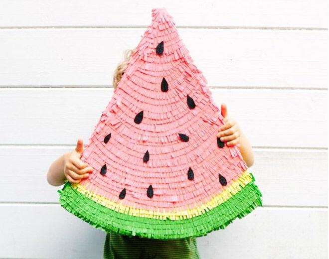 How to make a Watermelon Pinata DIY via Oh Happy Day
