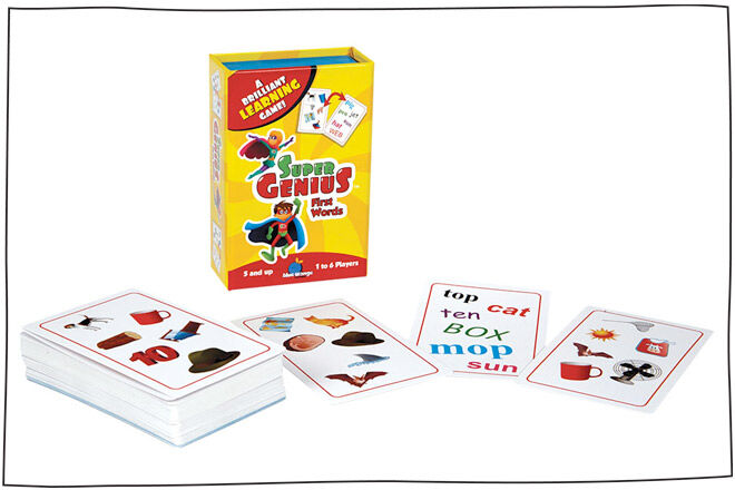 Super Genius First Words flash card game for kids aged 3-5
