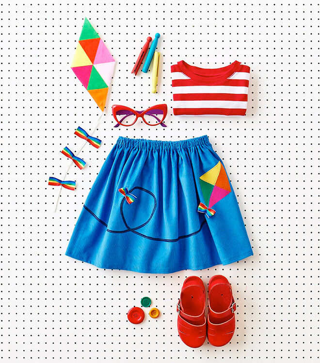 Colourful kite skirt featured in Wild Things: Funky little clothes to sew