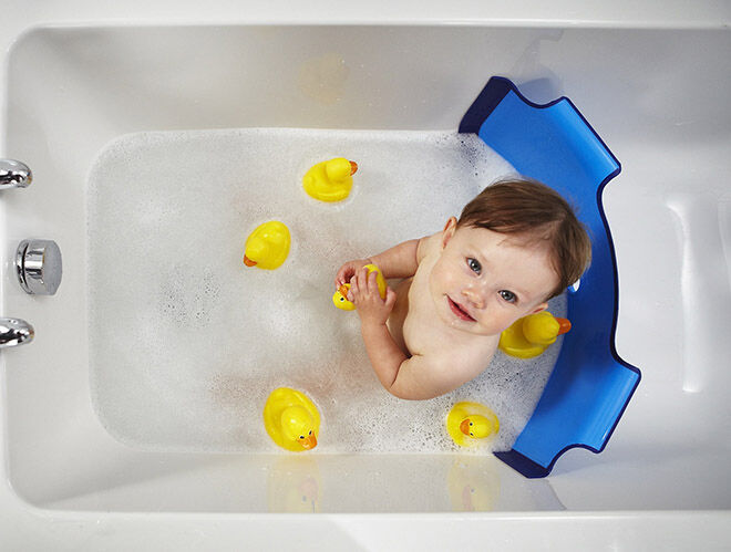 10 alternatives to the baby bath: The baby dam creates a wall so you only need to use half the amount of water to bathe baby   Mum's Grapevine