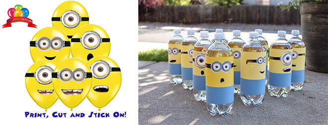 Minion party bottles and balloons | Mum's Grapevine