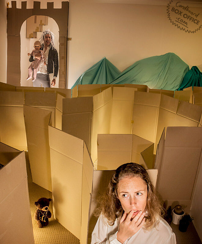 Cardboard Box Office re-create Labyrinth with their baby and cardboard boxes