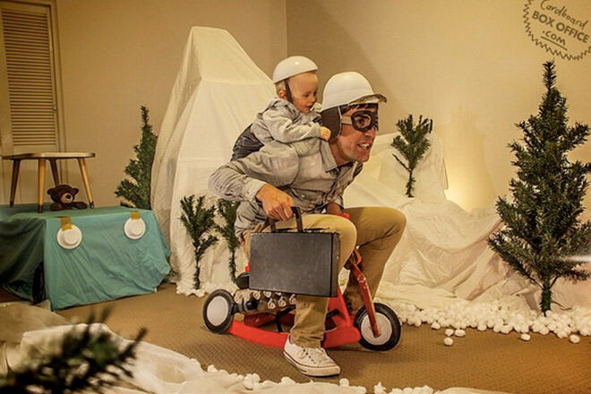 Family uses cardboard boxes to recreate famous movie scenes