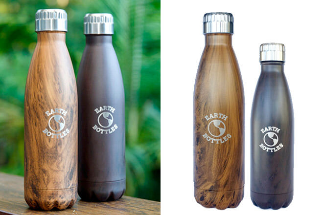 Gift ideas for outdoor dads: Earth Bottles, stainelss steel with faux wood finish | Mum's Grapevine