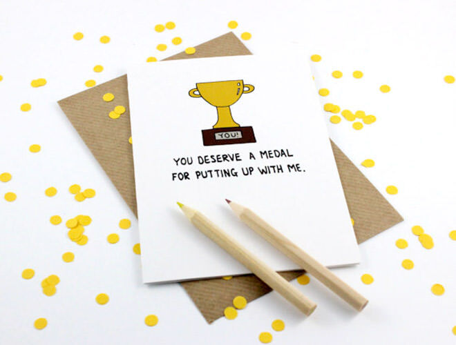 Etsy gold medal Father's Day card