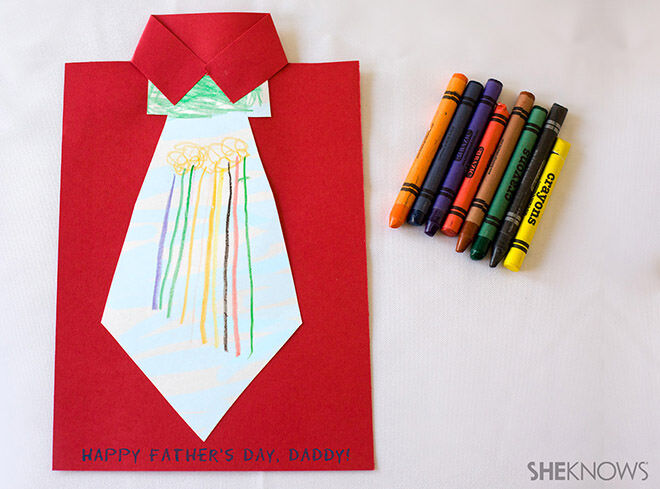 12 DIY Craft Ideas for Father's Day: Tie colouring-in card   Mum's Grapevine