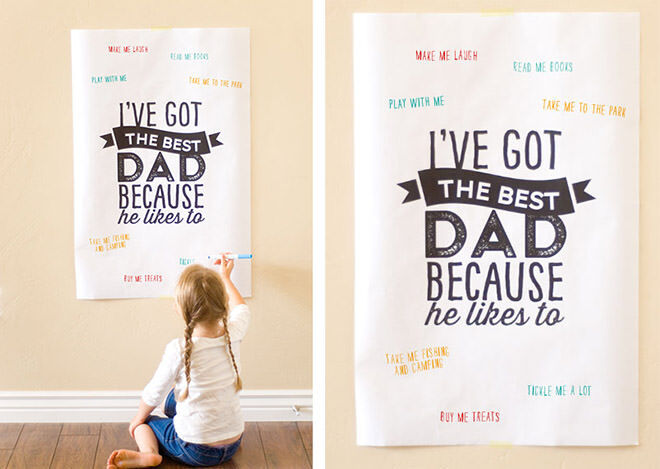 12 homemade gift ideas for Father's Day: Printable poster with messages of love | Mum's Grapevine