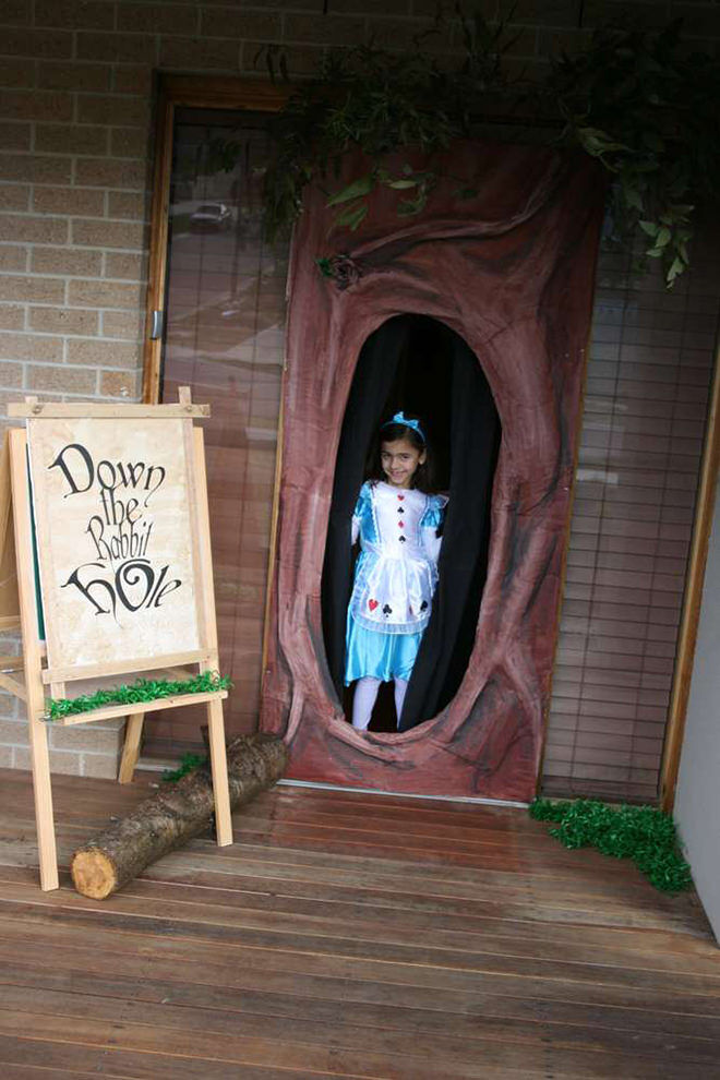 There are so many ways to throw a wonderful Alice in Wonderland party and this front door is one of our favourites.