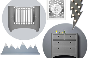 Leanders new grey cot and dresser