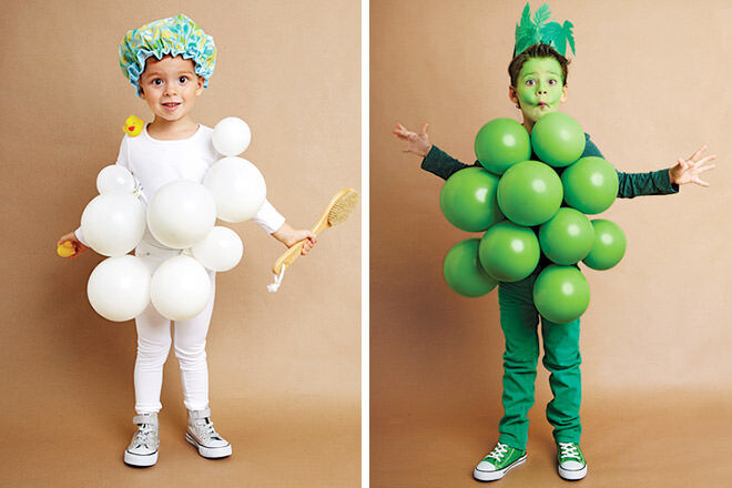 Dress up as bubbles in the bath or green grapes using balloons on Halloween.
