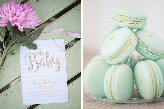 Mum's Grapevine presents Elise Swallow's baby shower with invites from Love JK and macarons by Burnt Butter