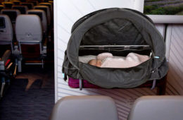 Bassinet cover on planes for babies