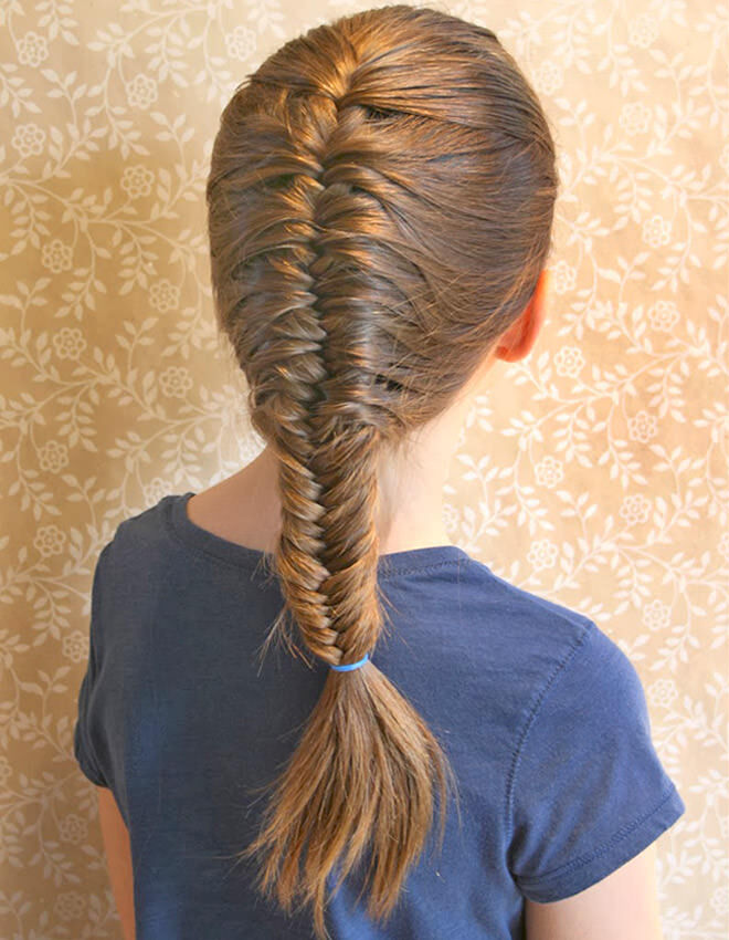 We love this fishtail braid for under school hats.