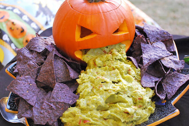 Halloween Guacamole. Such a fun party idea and could work with any dip.
