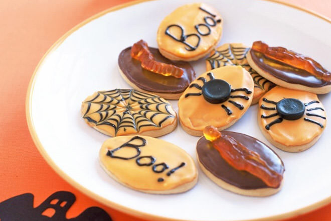 Halloween biscuits. Simply put icing on any biscuits and decorate with scary stuff!