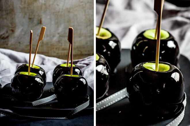 Halloween toffee apples with black food colouring look like poison apples.