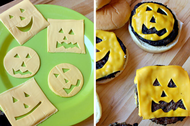Cut some shapes out of your burger cheese to give it a Halloween twist.