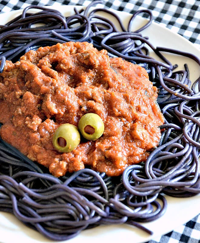 Feed the kids a proper dinner and scare them with bolognaise eyes and black pasta.