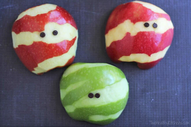 Fun Halloween food can be super simple too - just take a look at these apple 'mummies'. It's amazing what a bit of strategic peeling can do!