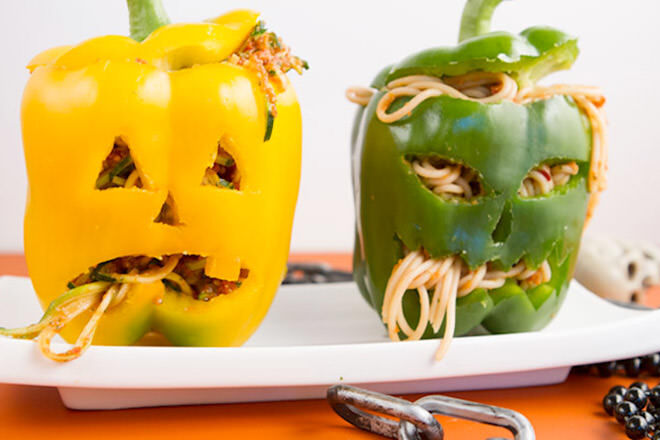 Who needs bowls on Halloween when you can carve out a capsicum?