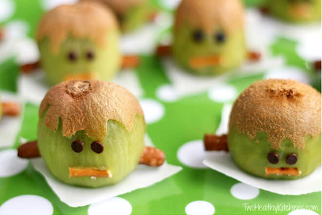Halloween Kiwi. Woah! See how many weird and wonderful faces you and the kids can create with your creepy green fruit.